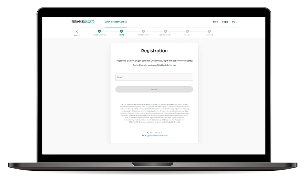 Registrieren Desktop Mockup